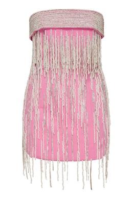 Розовое платье мини с бисерной бахромой Attico 1869187175
