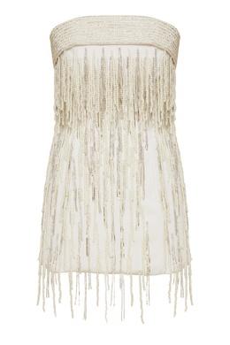 Белое платье мини с бисерной бахромой Attico 1869187174