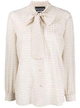 Boutique Moschino блузка с вышивкой и завязками на воротнике A02171139