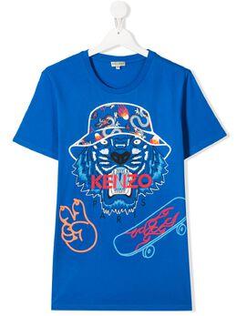 Kenzo Kids футболка с принтом Tiger KQ10668T