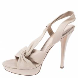 Gianvito Rossi Cream Leather Twist Detail Platform Sandals Size 37.5 272392