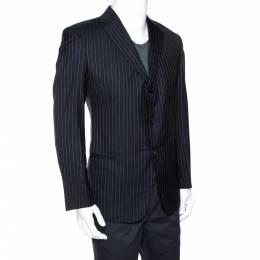 Giorgio Armani Dark Blue Pinstripe Wool Three Buttoned Blazer L