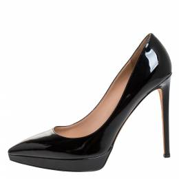 Valentino Black Patent Leather Pointed Toe Platform Pumps Size 41 272230