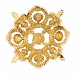Dior Vintage Multicolor Crystal Gold Tone Pin Brooch 290496