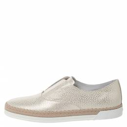 Tod's Gold/White Textured Leather Francesina Espadrille Slip On Sneakers Size 38.5 271631