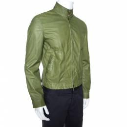 Giorgio Armani Green Lambskin Leather Jacket M