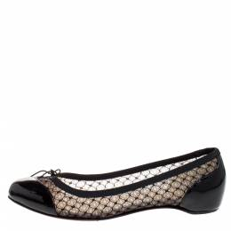 Christian Louboutin Black Patent Leather and Mesh Miss Mix Bow Ballet Flats Size 37.5 271934