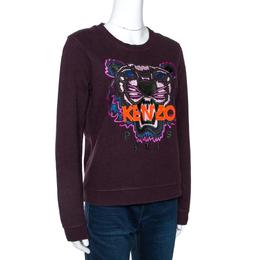 Kenzo Deep Purple Knit Embroidered Tiger Motif Sweatshirt M 271337