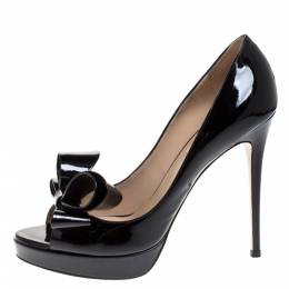 Valentino Black Patent Leather Bow Peep Toe Platform Pumps Size 39