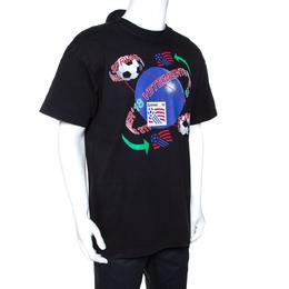 Vetements Black Graphic Print Cotton Polo Detail Double T-Shirt M