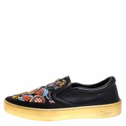 Dior Black Satin Embroidered Slip On Sneakers Size 37.5 272094