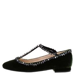 No. 21 Dark Green Velvet Crystal Embellished T-Bar Ballet Flats Size 36 271502