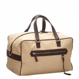 Prada Brown Canvas Travel Bag 271706