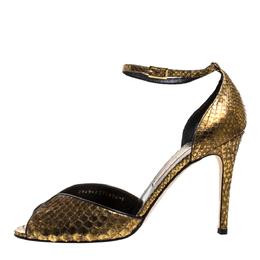 Gina Gold/Black Python Peep Toe Ankle Strap Sandals Size 41 272403