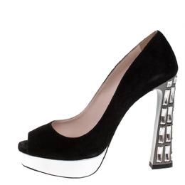 Miu Miu Black Suede Crystal Heel Peep Toe Platform Pumps Size 38.5