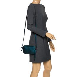 Coach Metallic Green Leather Double Zip Crossbody Bag 272439