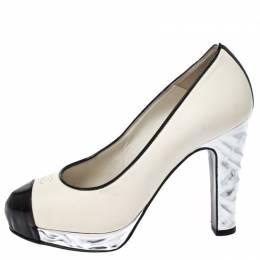 Chanel Monochrome Leather CC Cap Toe Platform Pumps Size 35 210916