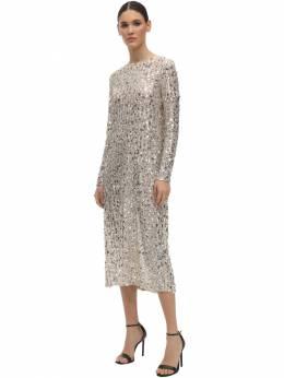 Sequined Round Neck Midi Dress In The Mood For Love 71IXU0005-QkVJR0U1