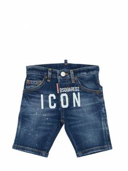 Stretch Cotton Blend Denim Shorts Dsquared2 71IXR6004-RFEwMQ2