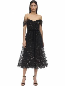 Off-the-shoulder Flocked Tulle Dress Marchesa Notte 71IWVN029-QkxBQ0s1