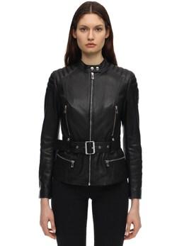 Molly Belted Leather Biker Jacket Belstaff 71IWOR002-OTAwMDA1