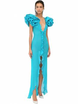 Ruffled Georgette Long Dress Alessandra Rich 71IRKM027-MTY5NQ2