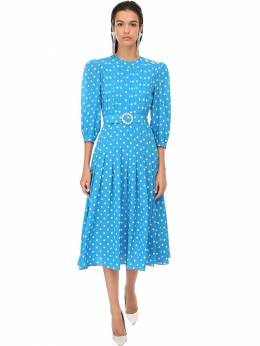 Polka Dots Silk Crepe Midi Dress Alessandra Rich 71IRKM019-MTc5Nw2