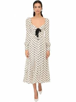 Polka Dots Silk Georgette Midi Dress Alessandra Rich 71IRKM004-ODIy0