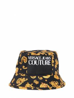 Logo Printed Cotton Bucket Hat Versace Jeans Couture 71IM88008-ODk50