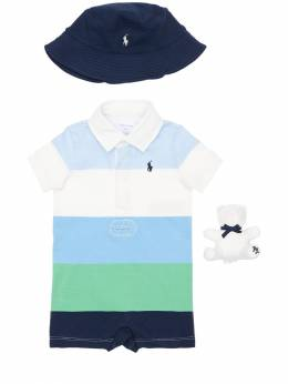 Cotton Jersey Romper, Hat & Stuffed Toy Ralph Lauren 71ILX6002-MDAx0