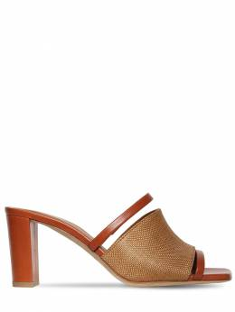 70mm Demi Raffia & Leather Sandals Malone Souliers 71ILOS004-Q09HTkFDK1RBTg2