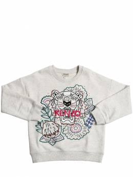 Хлопковый Свитшот С Вышивкой Kenzo Kids 71I6TB094-MjM1