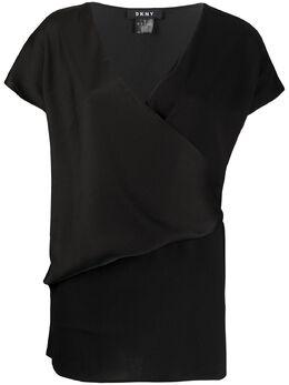 DKNY футболка с V-образным вырезом и запахом P9KA7DLI