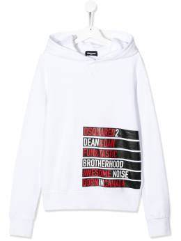 Dsquared2 Kids TEEN logo tape printed hoodie DQ03WQD00J7