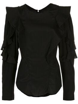 Isabel Marant Etoile приталенная блузка с оборками на рукавах HT161220P066E