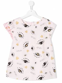 Kenzo Kids TEEN asymmetric eye-print T-shirt KQ12008