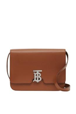 Коричневая кожаная сумка с пряжкой-логотипом Burberry 10187735