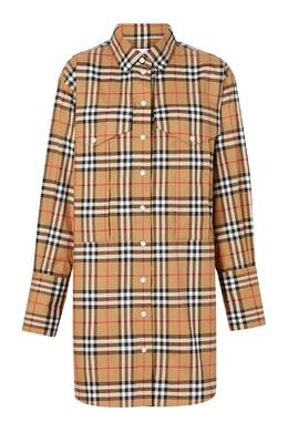 Удлиненная клетчатая рубашка Burberry 10187893