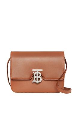 Коричневая кожаная сумка Burberry 10187892