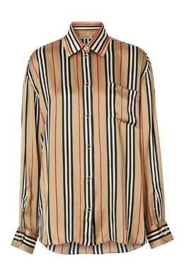 Атласная рубашка в полоску Burberry 10188033