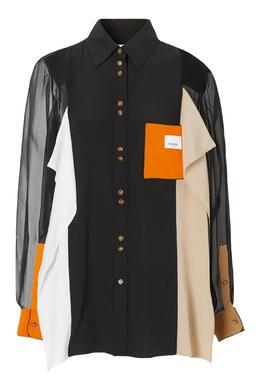 Черная рубашка с контрастными вставками Burberry 10187986