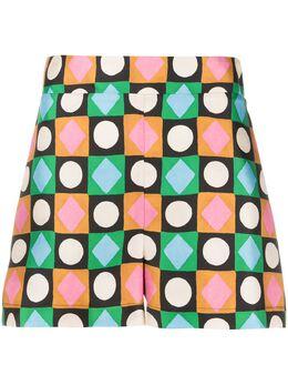 La Doublej шорты с геометричным принтом TRO0006SIL001CHA0001