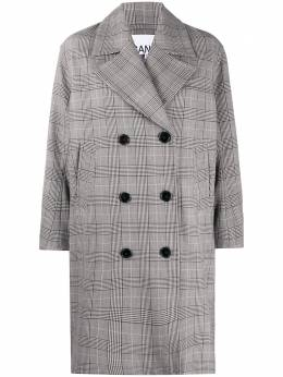 Ganni oversized check print coat F4651SUITING