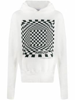 Ambush Schacchi-print cotton hoodie 12112064