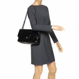 Chanel Black Quilted Patent Leather Jumbo Classic Double Flap Bag 323182