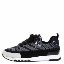 Hermes Black/White Abstract Pattern Neoprene And Suede Slip On Sneakers Size 36 272199