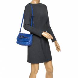 Aigner Blue Croc Embossed Leather Crossbody Bag 272578