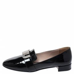 Miu Miu Black Patent Leather Crystal Embellshed Logo Ballet Flats Size 35 272760