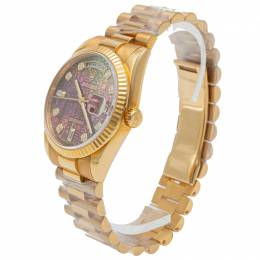 Rolex Jubilee Print Black Mother Of Pearl Dial Yellow Gold Day-Date Watch 36MM 272807