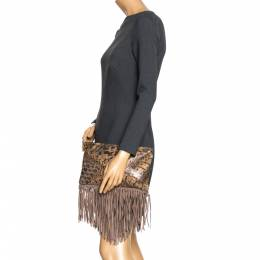 Jimmy Choo Beige Python and Suede Fringe Tita Convertible Clutch 271944